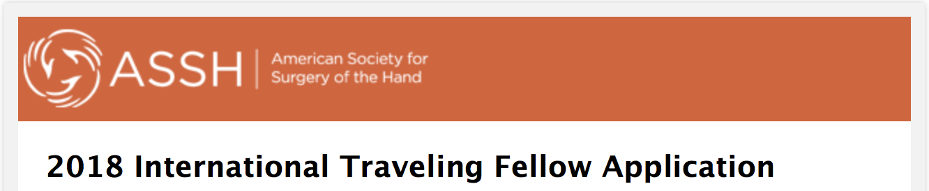 2018 International Travelling Fellowship ASSH
